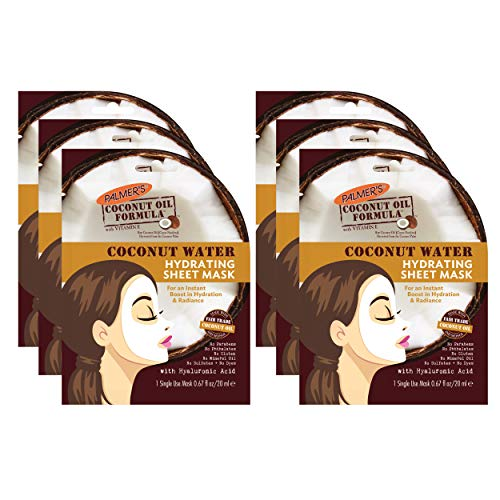 Palmer's Coconut Oil Formula Coconut Water Hydrating Sheet Mask, 0.67 Ounces (Pack of 6)