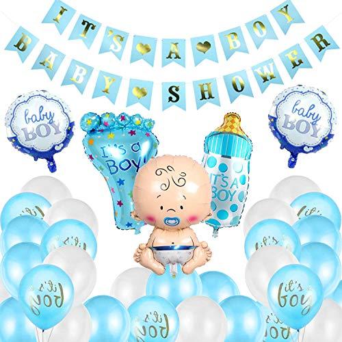 Osugin Babyparty Deko Junge Set 64 Stück Baby Shower Dekoration Baby Dusche Banner für Mama Sein Geschlecht offenbaren Party, It's A Boy Luftballons, Girlande, Streudeko, Geschenk - Blau