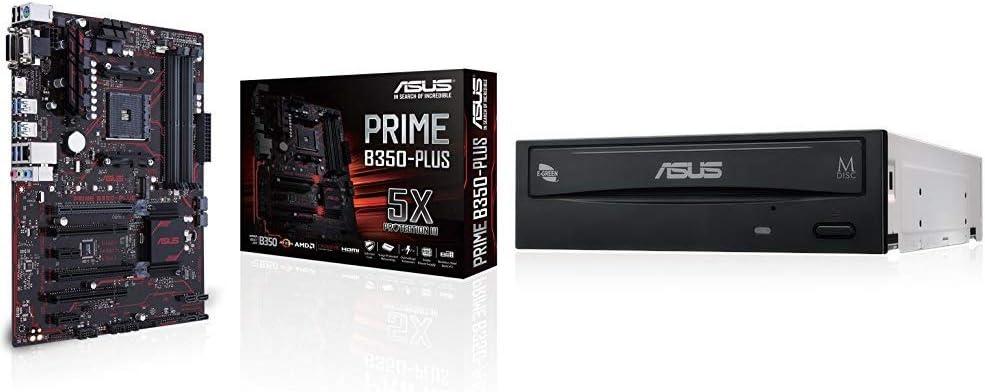 Asus 2 90MB0TG0-M0EAY0 - Placa base (Prime B350-Plus, Amd, Am4, B350, 4ddr4, 64gb, Vga+Dvi+Hdmi, Gblan) + ASUS DRW-24D5MT - Grabadora de DVD 24X, compatibilidad con M-DISC, encriptación de disco