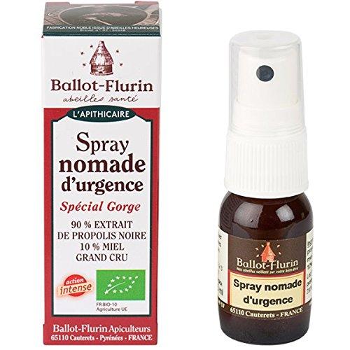 Ballot-Flurin - Spray Nomade d'Urgence - Propolis et Miel BIO - Fabriqué en France - 15 ml