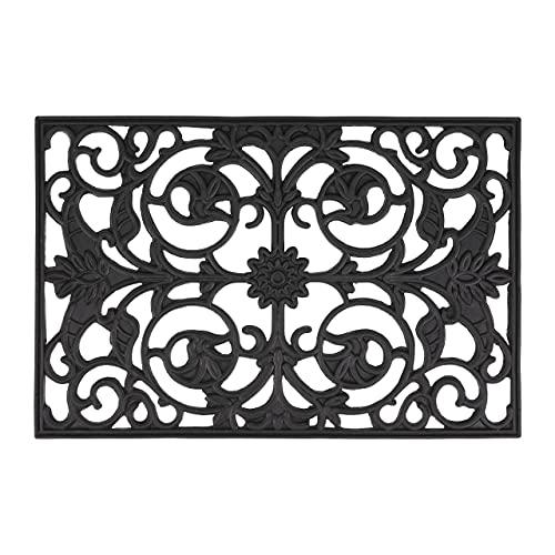 Relaxdays Felpudo de Goma, 40 x 60 cm, Antideslizante, Resistente a la Intemperie, para Interior y Exterior, diseño Floral, Color Negro