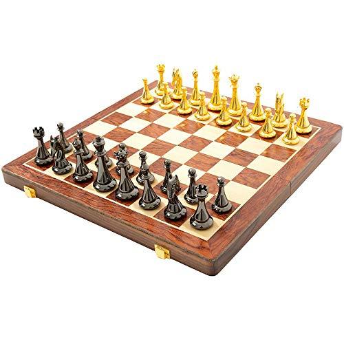 Ajedrez de madera hecho a mano, piezas de ajedrez de aleación occidental negras y doradas plegables y portátiles, versión de almacenamiento del juego de tablero de viaje, juego de tablero educativo pa