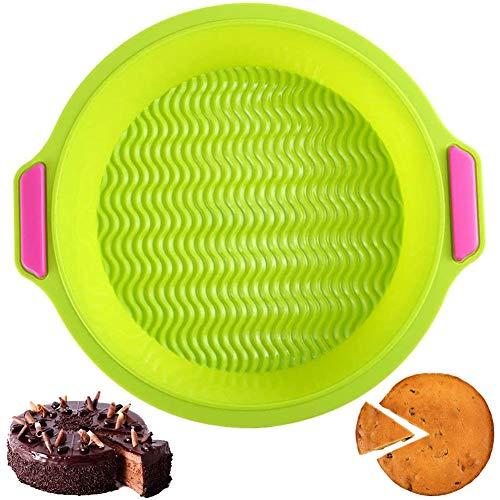 NACLY Molde Redondo de Silicona para Tartas y Bizcochos Repostería Pastel y Pan con Diametro de 9,2 y Profundidad de 5 CM Bandeja para Hornear en Cocina (Verde, 23,5cm)