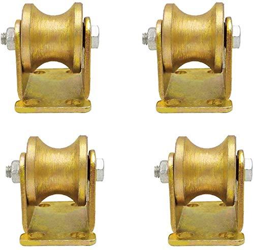 4 U-Groove stalen zwenkwielen stijve high-performance wielen wielen wielen met katrollen dubbele lagers goud voor industriële machines schuifdeuren rolluiken draad Rope Rails (50 mm 95 mm.