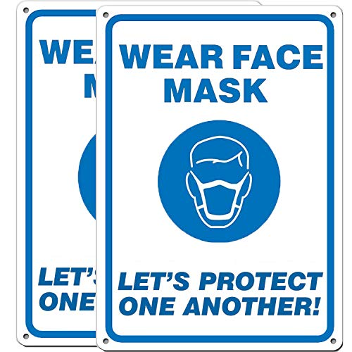 (2 Pack)'WEAR FACE MASK - Let's Protect One Another' Sign .040 Mil Rust Free Aluminum 10' x 7' Indoor Or Outdoor Use, Metal Reflective, UV Printed & Waterproof