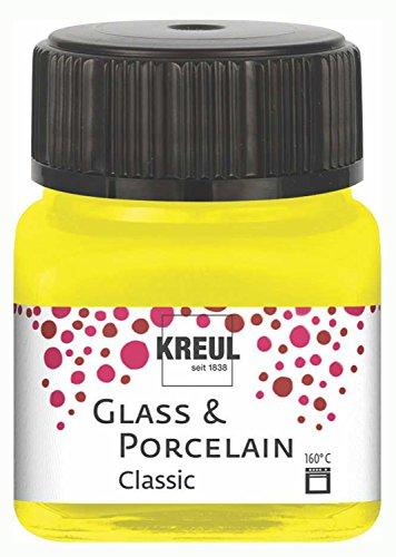 Kreul 16201 - Glass und Porcelain Classic, brillante Glas- und Porzellanmalfarbe auf Wasserbasis, schnelltrocknend, deckend, 20 ml im Glas, kanariengelb