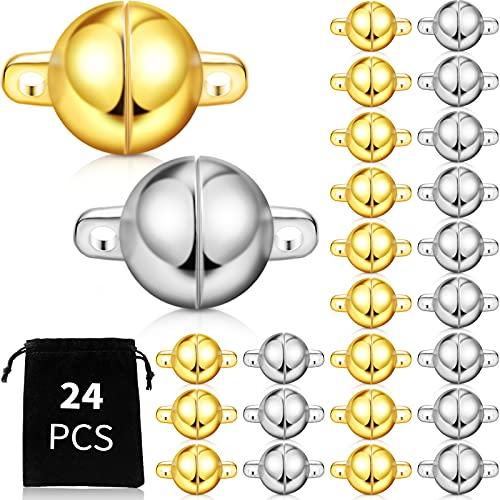 24 Pieces Round Magnetic Jewelry Clasp, Jewelry Magnetic Bead Clasp Converter Buckle Ball for Bracelet Necklace Jewelry DIY Making (8 mm, Gold, Silver)