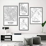 HNZKly Spanien Stadtplan Poster Barcelona Madrid Malaga