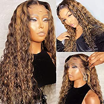 Human Hair Lace Front Wig Color #4 Highlight with Brown Balayage T Part Lace Wigs for Women 150% Density Ombre 2 Tones Middle Part Long Curly Lace Wigs 24 Inch