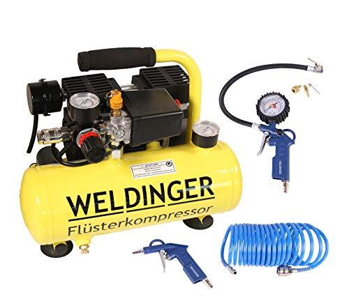Aktionsset WELDINGER Flüster Kompressor FK 40 compact + Druckluftset 6-teilig 5 Jahre Garantie