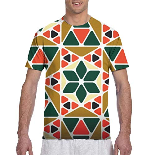 WoodWorths Retro Geometric Pattern Men's Short Sleeve Tee Colorful Tshirt Tees Casual(Medium,Black)