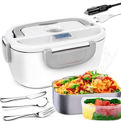 Nifogo Tragbare Edelstahl Elektrische Lunchbox 2 IN 1, Löffel, Gabel und Messer Enthalten für Auto/LKW und Büro 220V & 12V (Grau)