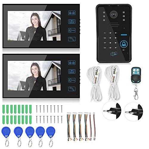 CHICIRIS Videoportero, 7 Pulgadas, Pantalla táctil, visión Nocturna, intercomunicador, Tarjeta de contraseña, Monitor de Seguridad para el Sistema de Acceso al Edificio(#1)