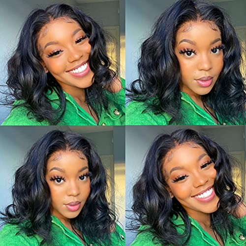 Lace Front Wigs Body Wave Human Hair T-Part Lace Frontal Bob Wigs Brazilian Virgin Human Hair Wigs for Black Women Pre Plucked with Baby Hair 150% Density Natural Color(12 inch)