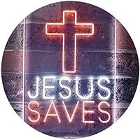 Cross Jesus Saves Home Decoration Dual Color LED看板 ネオンプレート サイン 標識 白色 + オレンジ色 300 x 400mm st6s34-i3253-wo