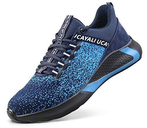 Ucayali Zapatillas de Seguridad Hombre Zapatos de Trabajo con Punta de Acero Calzado Protección Laboral Deportivos - Ultraligeras Transpirables y Cómodas, Azul 47