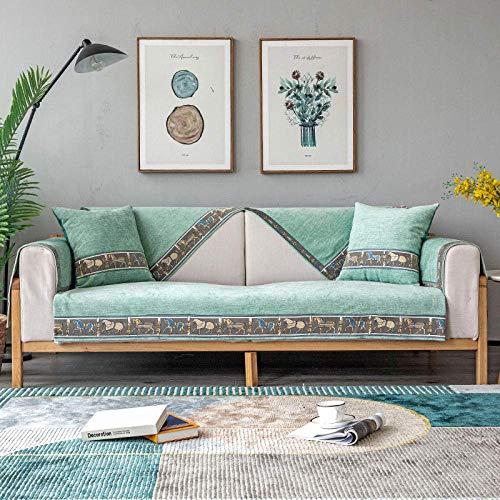 JXJ Chenille Schnittsofa-Bezug Schnittsofa-Bezüge rutschfeste Sofabezug für Hunde Katzen Kids Recliner Armlehnen-Rückenlehnenbezug, grün, 90x120 cm