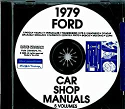 1979 FORD MERCURY LINCOLN CAR REPAIR SHOP And SERVICE MANUAL For Mustang Pinto Granada LTD 500 Custom Thunderbird Capri Zephyr Ranchero Cougar XR-7 Monarch Versailles Marquis Meteor Mark V