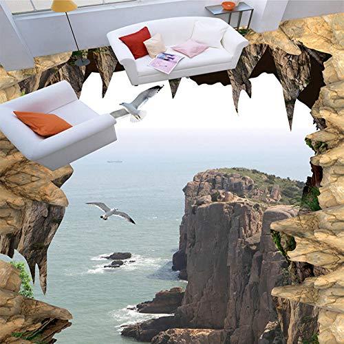 Papel pintado mural de suelo personalizado 3D estéreo acantilado escarpado paisaje foto mural papel de pared PVC autoadhesivo impermeable 3D suelo Azulejos-200 * 140cm