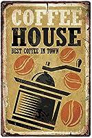 コーヒーハウス町で最高のコーヒー。 ブリキサインヴィンテージ鉄塗装メタルプレートノベルティ装飾クラブカフェバー。