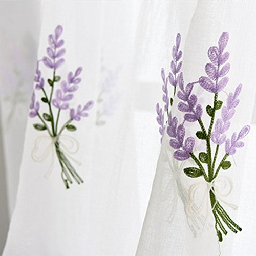 WINYY Lavender Curtain for Bedroom Embroidery Leaf Sheer Curtain Voile Rod Pocket Top Window Treatment Polyester Blend Fabric Tulle 1 Panel (40 Inch Wide, 63 Inch Long)