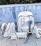 Juego de 5 mochilas escolares para niños, adolescentes, niñas, mujeres, viajes, libros, color blanco