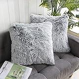 Uhomy 2 Packs Home Decorative Luxury Series Super Soft Faux Fur Throw Pillow Cover Cushion...