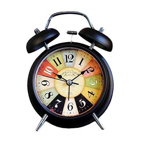 XT Bellende wekker Retro wekker Metal wekker Student wekker Mute klok nachtkastmodus (Color : B)