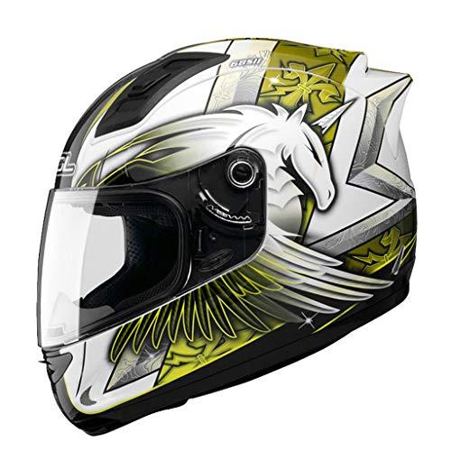 Casque moto hommes et femmes casque intégral de locomotive quatre saisons casque de course kart casque de course (Couleur : A-M54-56cm)