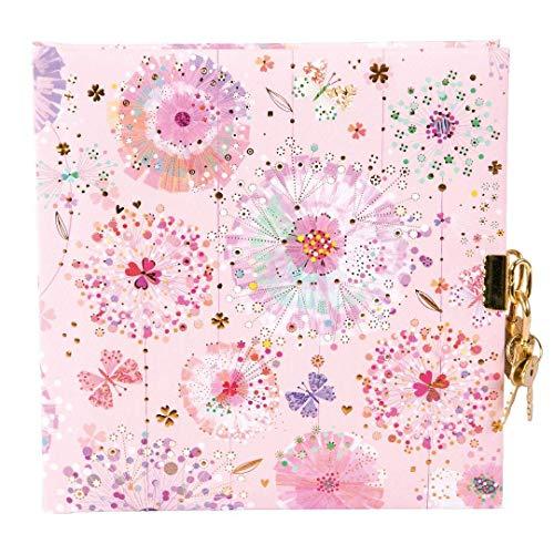 Goldbuch Tagebuch, Primavera Rose, 96 weiße Seiten, 16,5 x 16,5 cm, Schloss mit 2 Schlüsseln, Kunstdruck mit Goldprägung und Relief, Rosa, 44327