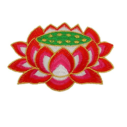 Ximkee (1 Pair) Buddha Seat Lotus Flower Embroidery Appliques Sew Iron on Patch