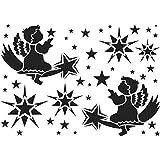 Ideen mit Herz Laser-Kunststoff-Schablone | Fenster-Schablonen | DIN A4 | Weihnachten & Winter | ideal für Wandgestaltung, Textilien, Papier, Fensterbilder selber gestalten (Waldszene)