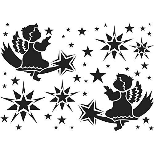 Ideen mit Herz Laser-Kunststoff-Schablone | Fenster-Schablonen | DIN A4 | Weihnachten & Winter | ideal für Wandgestaltung, Textilien, Papier, Fensterbilder selber gestalten (Engel & Sterne)