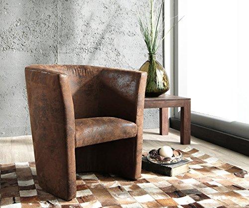 DELIFE Designsessel Goya Braun gepolstert Vintage Optik Lounge Chair Sessel