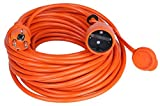 ACAR IP44 - Cable alargador de corriente con protección de contacto, para jardín, color naranja