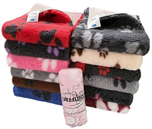 Vet Fleece Wurfunterlage für Hunde/Katzen, mit Pfoten-Muster, zum Aufrollen, aus Fleece, rutschfeste Unterseite