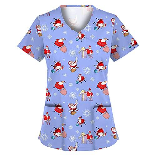 Weihnachtsbluse für Frauen Arbeitsuniform Weihnachten Schneemann Print V Ausschnitt Kurzarm Tops mit Tasche