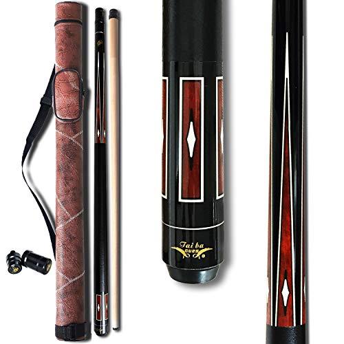 TaiBA 2-Piece Pool Stick + Hard Case, 13mm Tip, 58', Hardwood Canadian Maple Professional Billiard...