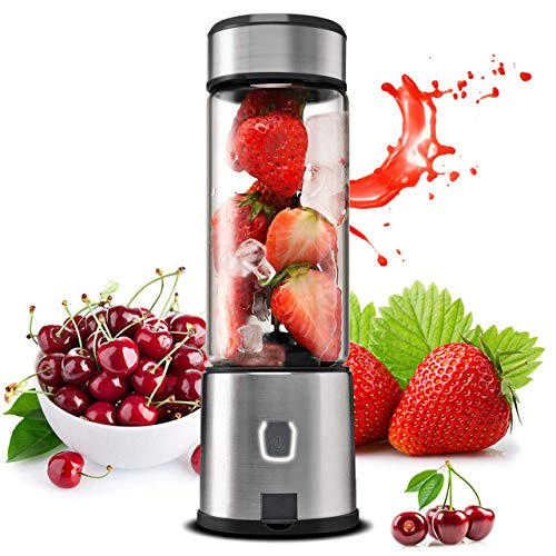 Portable Blender, TTLIFE 5000mAh Glass Smoothie Blender with Single Serve, USB Rechargeable Cordless Personal Blender, Mixer Juicer Cup Portable for Shakes and Smoothies, Baby Food, Protein Shake -Black