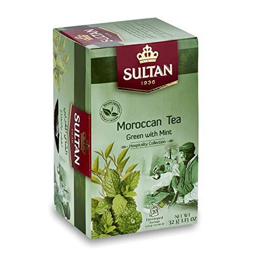 SULTAN TEA Marokkanischer Grüntee mit Minz-Bio-Kräutertees (Packung mit 2 - 40 Teebeuteln)