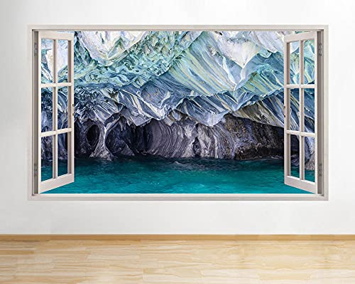 Pegatinas dePared Pegatinas de pared cueva de piedra montaña océano azul ventana calcomanía 3D Art Vinyl Room H548