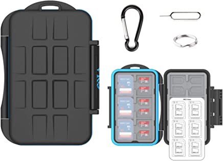 (36 Slots) VKO SD SDHC SDXC Micro SD TF Memory Card Case Holder Organizer Carrying Box Keeper,Shockproof Storage Protector Cover for Computer Camera Media 12 SD Cards & 24 Micro SD Cards