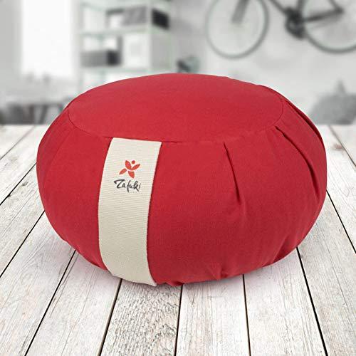 ZAFUKI Zafu Redondo DESENFUNDABLE - Rojo, cojín para meditación y Yoga- Relleno cáscara espelta