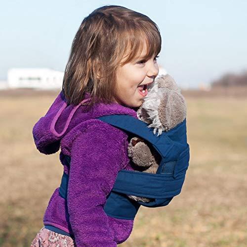 marsupi mini Puppentrage - Babytrage für Puppen-Mamas und Puppen-Papas ab 2 Jahre, Biobaumwolle, mit Klettverschluss (marsupi mini/Puppentrage, blau/ocean)