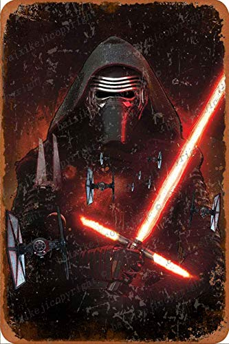 Cimily S-t-a-r W-a-r-s The Force Awakens Kylo Ren Vintage Blechschilder Zinn Poster Retro Metallschild Plaque Art Wanddekoration 8 × 12 Zoll