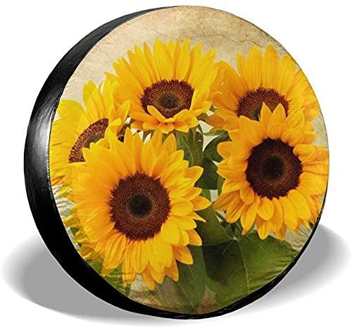 Sunflowers - Cubierta para neumáticos de repuesto,poliéster,universal,de 14 pulgadas,para ruedas de repuesto,para remolques,vehículos recreativos,SUV,ruedas de camiones,camiones,caravanas,accesorios