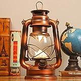 Lámparas LED vintage de huracán, lámparas de aceite de queroseno de hierro recargable, para uso en interiores o exteriores, cable de carga y batería incluida (bronce)