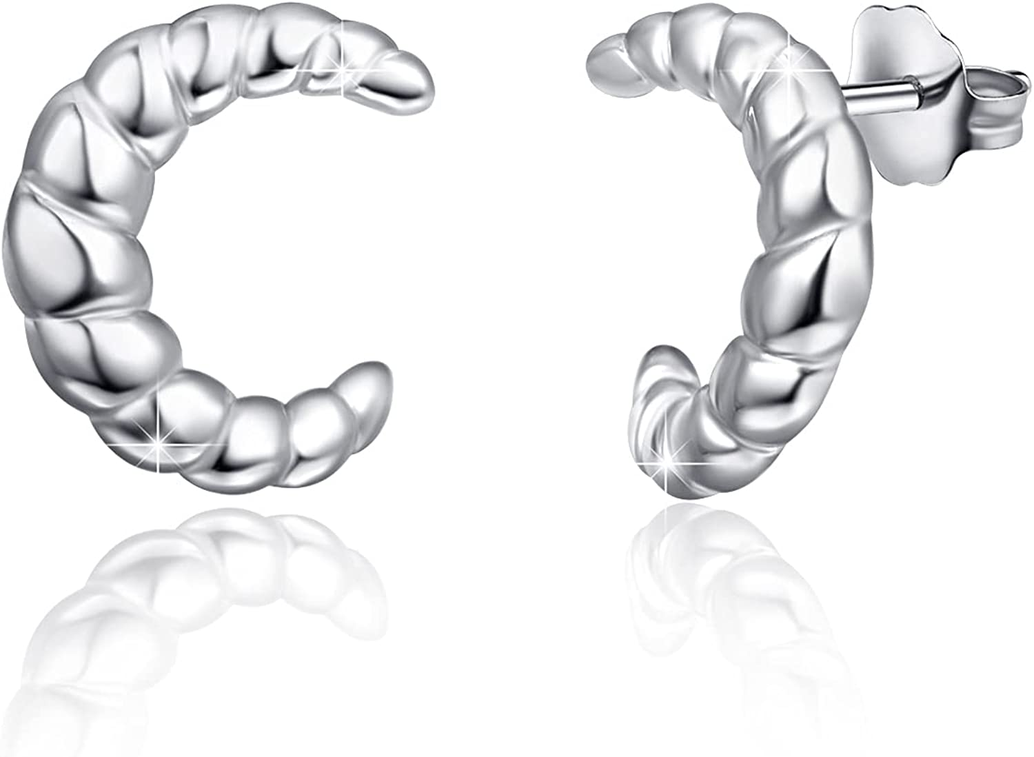 Chunky Twisted At the price of surprise Earrings Sterling Studs Croissant Japan Maker New Silver
