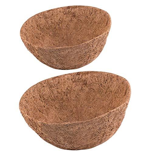 Rimonasure - Forro de coco para maceteros de 35,56 cm, 2 piezas de repuesto para cesta de plantas redondas, forro de fibra de coco natural para cesta colgante