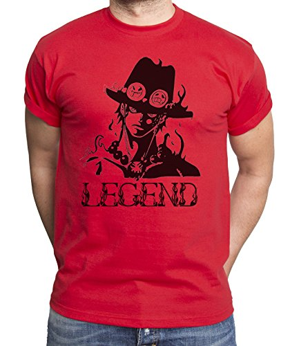 Ace T-Shirt pour Homme Ruffy One Monkey Anime Piece Zoro, Farbe2:Rot;Größe2:M
